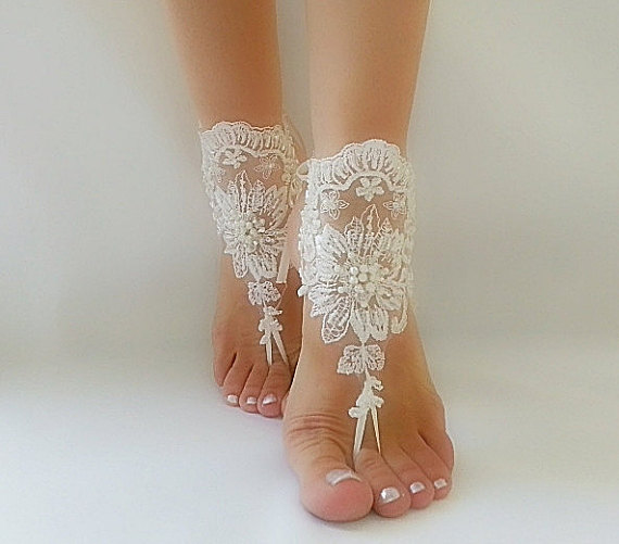 Mariage - ivory Barefoot , french lace sandals, wedding anklet, Beach wedding barefoot sandals, embroidered sandals.