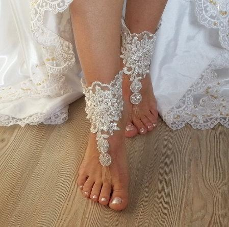 Mariage - ivory Barefoot silver frame , french lace sandals, wedding anklet, Beach wedding barefoot sandals, embroidered sandals.