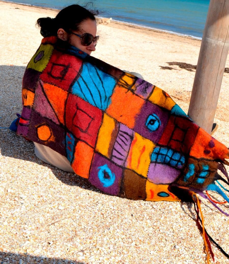 Düğün - Scarf with felt dreads patchwork  Felted scarf felt scarf