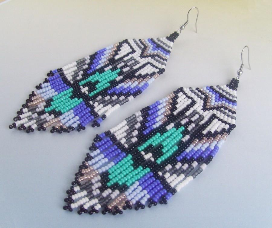 Blue Black Earrings Beaded Holiday Seed Bead Jewelry Boho Dangle Gift For Her Long Christmas
