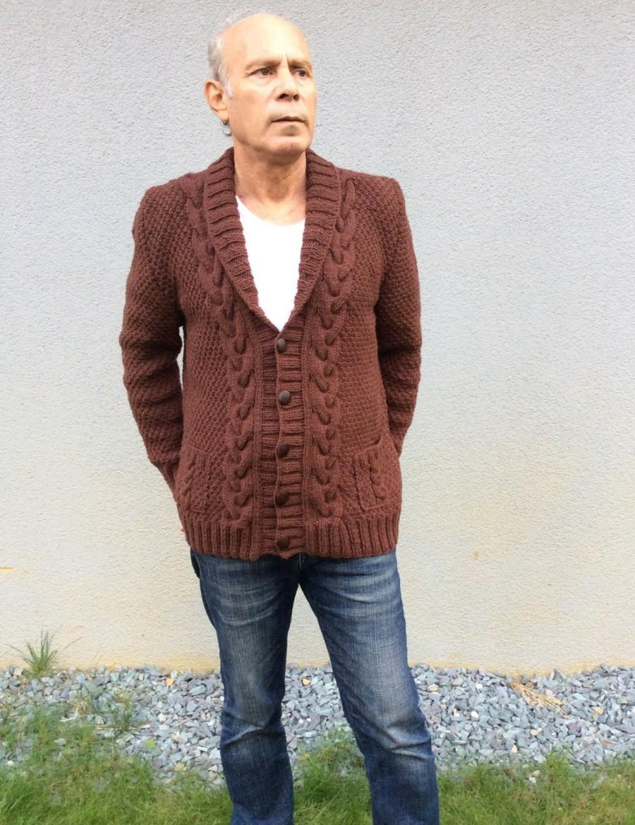 Hochzeit - Hand knitted Man's Brown Boyfriend Coat Cardigan,  Cable Knitted Overcoat for Winter and Spring ,Made to order Outwear or Jacket