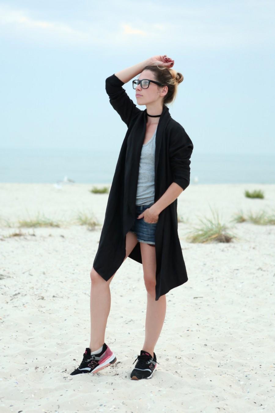 Wedding - Black kimono. Natural linen Bathrobe. Natural linen mantle. Cardigan for woman. Linen cape. Linen jacket. Long coat. Flax dress