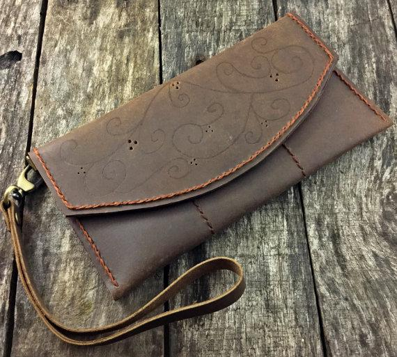Wedding - gift for bride - bridesmaid gifts - bridesmaid gift - Leather Clutch Wallet, IPhone 6 leather Wallet, Leather Purse gift, Personalized Gift For Her, Engagement Leather Gift, NiceLeather-NL107