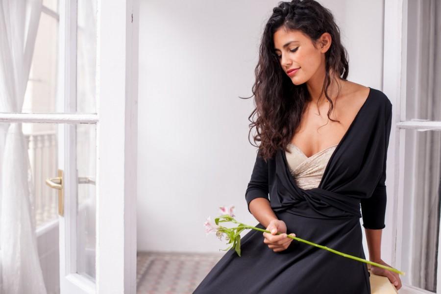 Mariage - Black maxi dress, wrap dress, long dress, black dress, black long dress, evening dress, long sleeve convertible dress, black maxi wrap dress