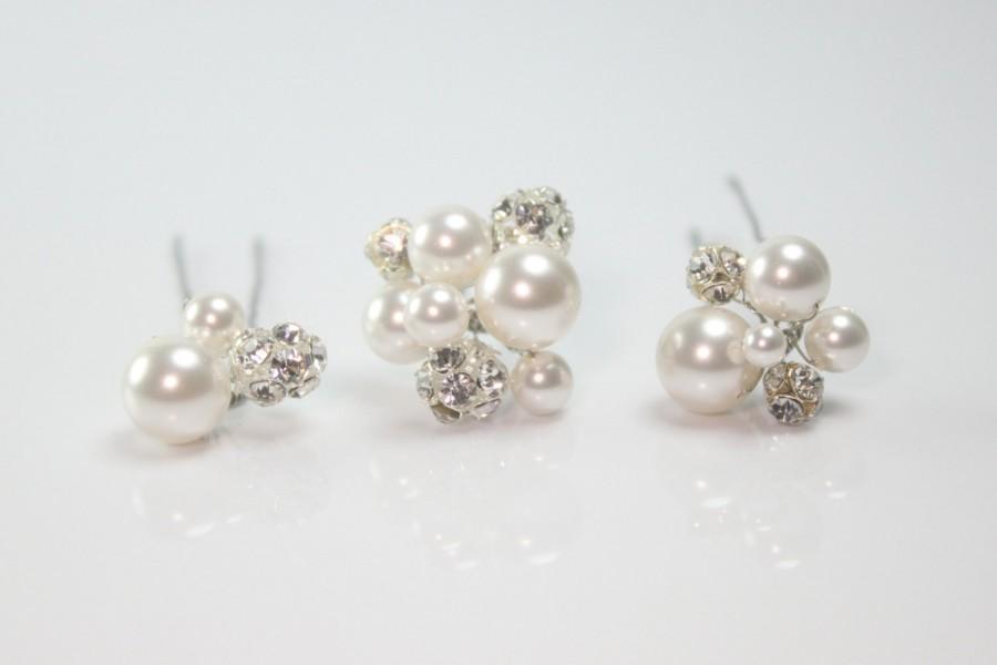 Mariage - Bridal Hair Pins, Rhinestone Hair Pins, Swarovski Hair Pins, Hair Pins, Swarovski Rhinestone Hair Pins-Style HP106