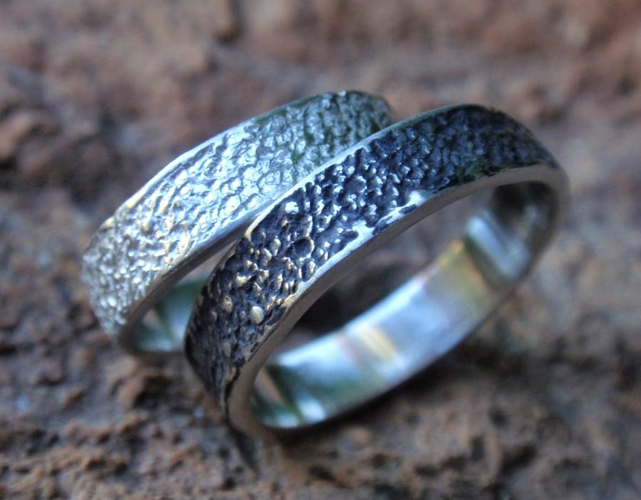 Stardust Textured Unique Wedding Band Set Of 2 Uni Sterling Silver Rings Handmade Jewelry For Men And Women