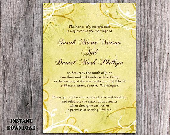 Wedding - DIY Rustic Wedding Invitation Template Editable Word File Instant Download Printable Yellow Wedding Invitation Vintage Gold Invitation