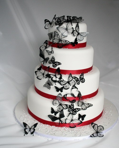 Mariage - 20 Pack of Black and Clear 3D Butterflies