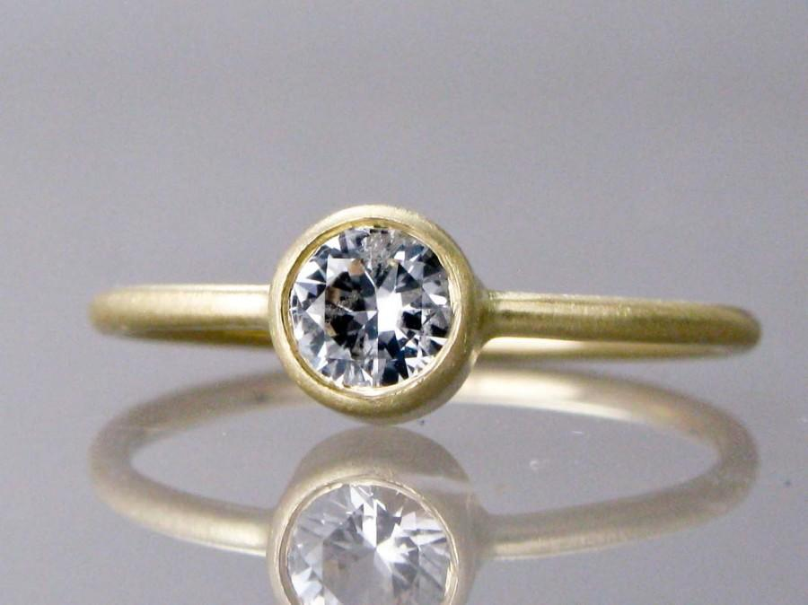 Wedding - 14k Gold and White Sapphire Engagement Ring - 5mm Stone in yellow or white gold