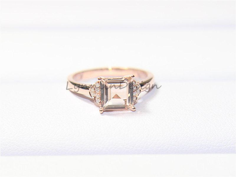 زفاف - 14K Rose Gold Ring 7mm Pink Morganite Diamond Ring Wedding Ring Pincess Morganite Wedding Diamond Morganite Ring Diamond Gold Jewelry