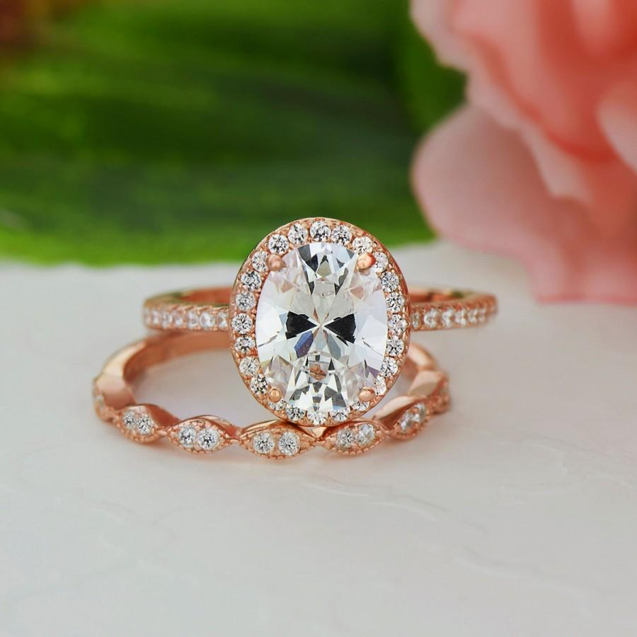 diamond engagement bridal ctw gold set plated rose oval style art silver sterling deco halo ring media simulants man made vintage