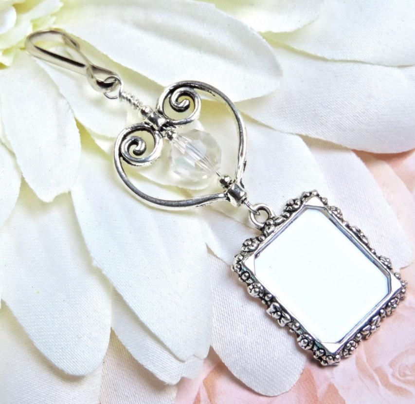 Mariage - Wedding Bouquet Charm - Crystal & heart photo Charm for Bouquet - Wedding Keepsake Gift - Bridal Gift - Memorial Charm - Gift for the Bride
