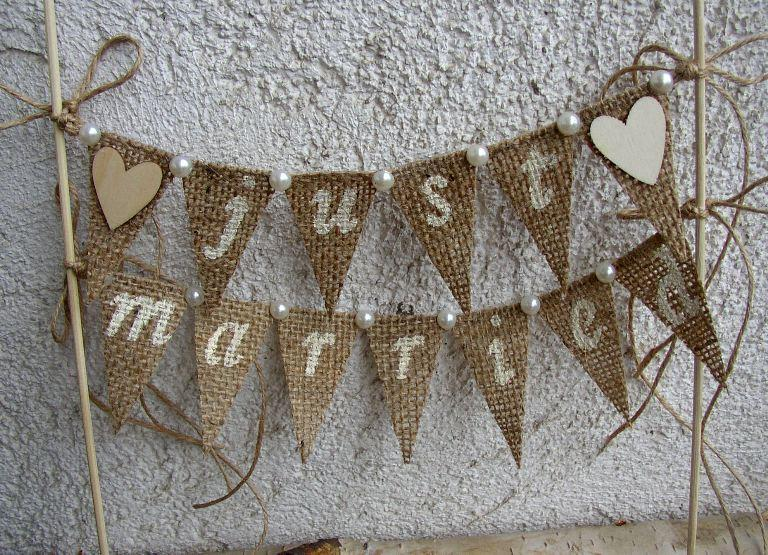 Just Married Rustic Cake Topper Banner Hessian Wedding Bunting