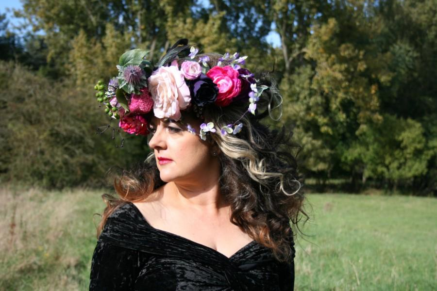 Свадьба - Flower crown wreath in shades of 'berry', featuring high quality artificial flowers, birds and grapes.