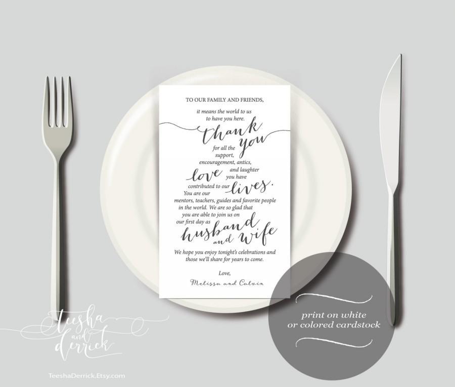 زفاف - Wedding Place Setting Thank You Instant Download Printable Card Template, Kraft Wedding Thank you card in PDF (y0112)