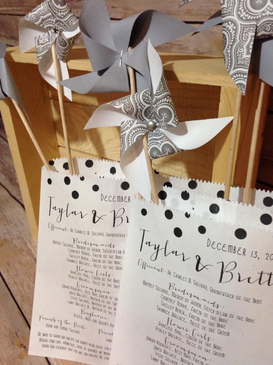 25 Custom Wedding Program Bags Bridal Favor Personalized Programs