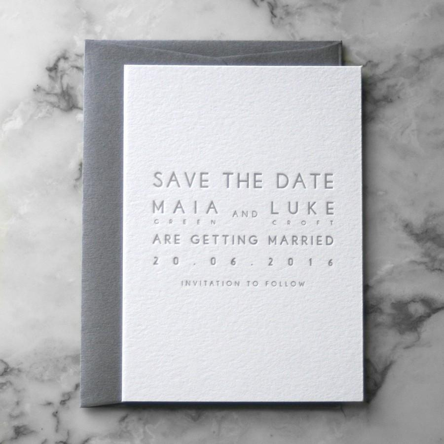 زفاف - Letterpress Modern Minimal Save the Date (50 Pieces)