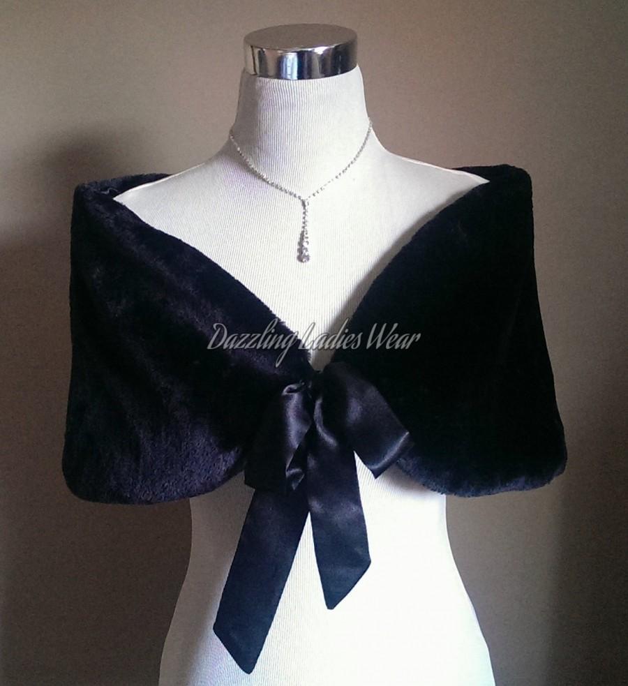 b4ea98b68318 50's Style Faux Fur Stole With Ribbon UK 8-20/ US 4-16 / Bolero / Shrug /  Jacket / Shawl / Wrap / Satin Lining Colour: Black or Ivory
