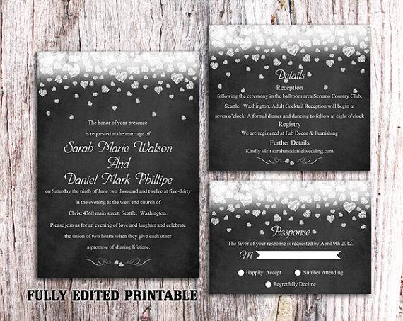 Свадьба - Printable Chalkboard Wedding Invitation Suite Printable Invites Black Invitation Heart Wedding Invitation Download Invitation Edited PDF
