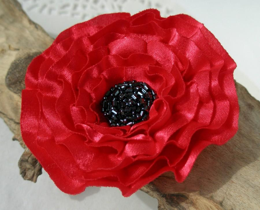 Wedding - Red Flower Pin Or Hair Clip With Beads In The Centre
