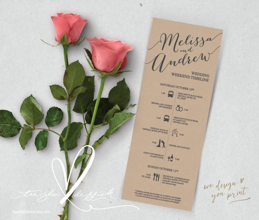 Wedding - Printable Wedding Timeline, Wedding Weekend timeline, Wedding Itineraries (t0101) for Welcome Bags  in typography theme theme .