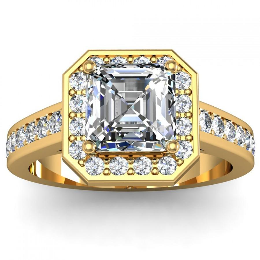 Свадьба - 14K Yellow Gold Asscher-Cut Engagement Ring 0.90 ct. tw