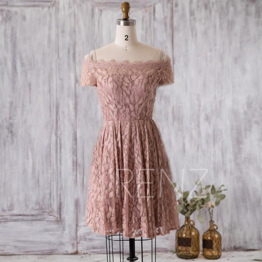 2016 Dusty Rose Bridesmaid Dress One Shoulder Lace Neck Wedding Hollow Back A Line Party Short Tail Knee Sl085