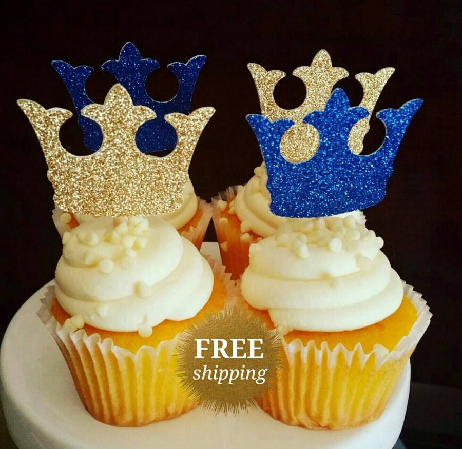 Hochzeit - Prince Crown Cupcake Toppers Glitter Crown Toppers Gold Royal Blue Crown Toppers Prince Baby Shower Glitter Royal Prince Decorations