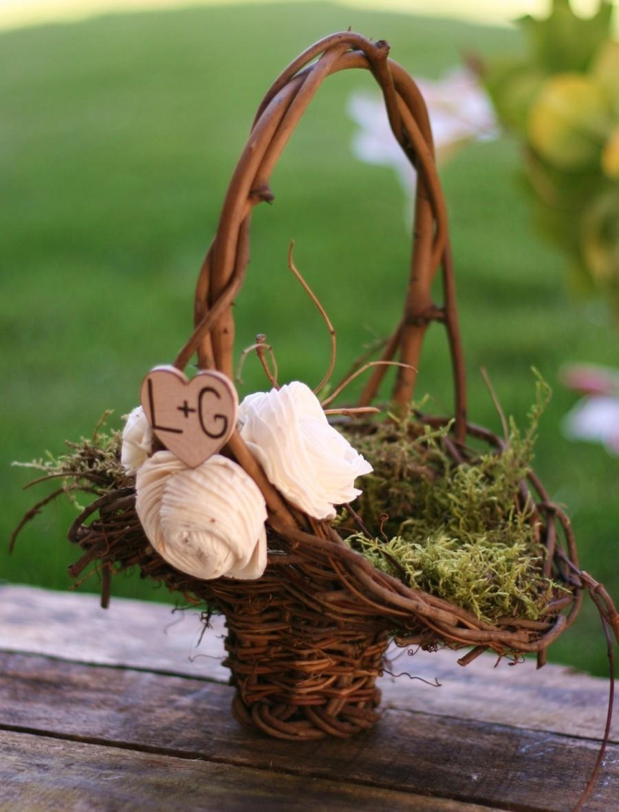 Wedding - Personalized Woodland Rustic Twig Flower Girl Basket With Engraved Wood Heart And Vintage Inspired Paper Roses Moss Lining