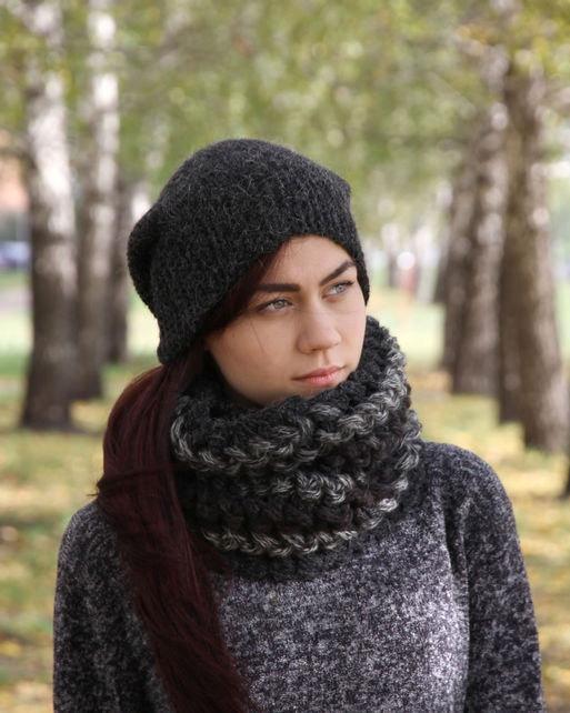 d47fe62bf48 Autumn hat scarf set Crochet graphite colors hat winter set Lace shawl set  beanie cowl set Crochet scarf Knit hat Christmas gift set
