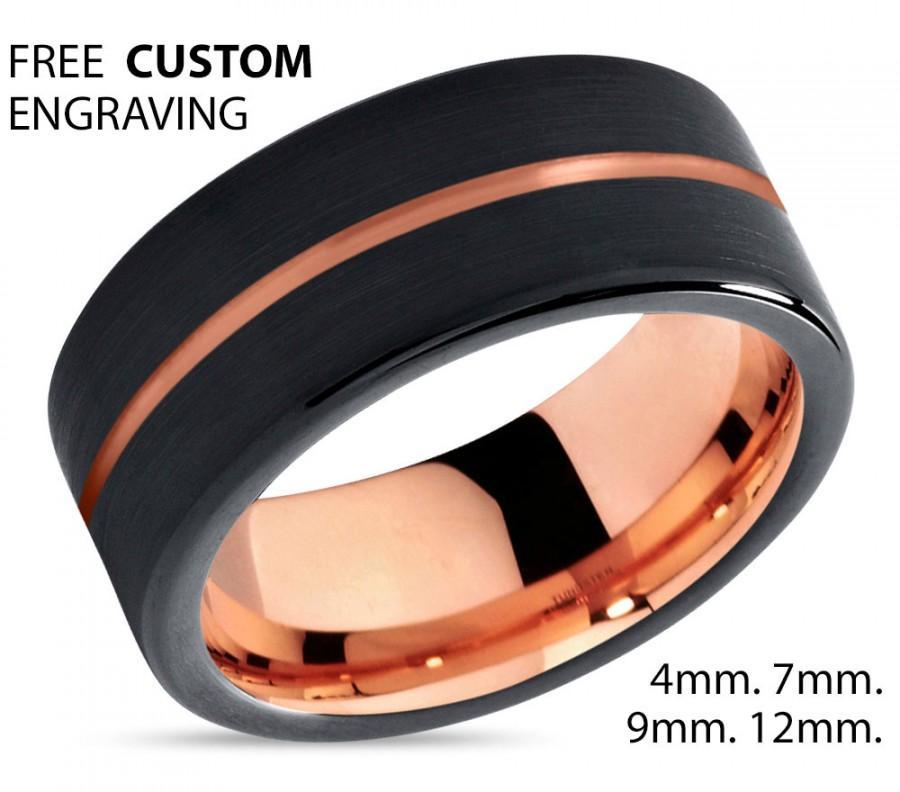 Свадьба - Rose Gold Black Tungsten Wedding Band Ring Rose Gold Ring Tungsten Carbide 9mm 18K Tungsten Man Wedding Band Male Women Anniversary Matching