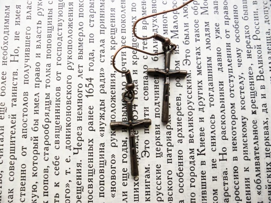 Mariage - cross earrings halloween earrings Gothic earrings halloween jewelry metal earrings copper vintage style girl gift Teen girl earrings