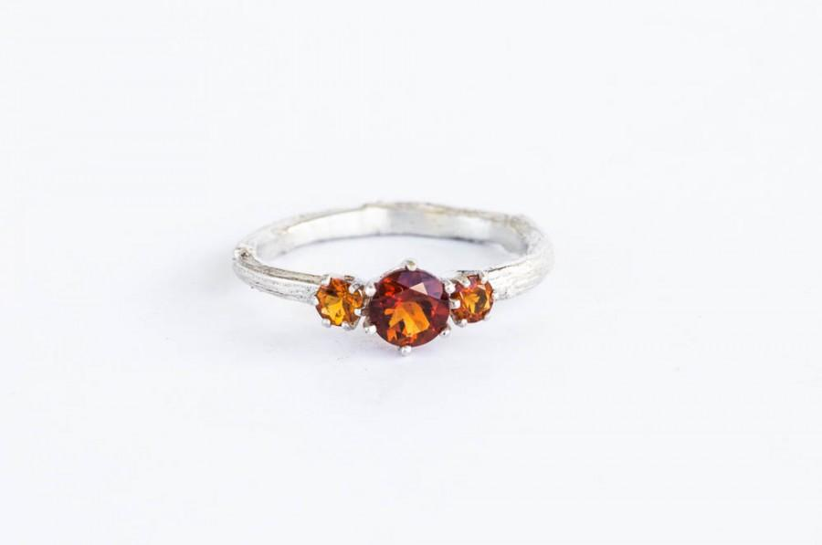 زفاف - Fire citrine twig engagement ring, citrine engagement ring, three stone ring