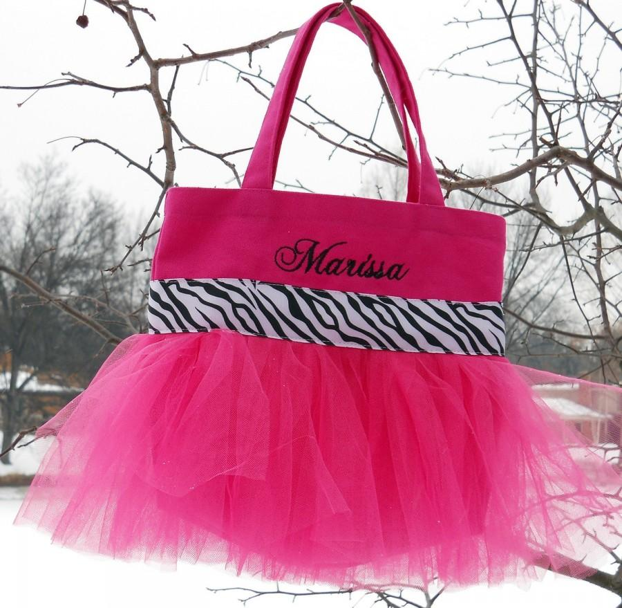 Свадьба - Child's Embroidered Dance Bag -  Hot Pink Tote Bag with Black and White Zebra Ribbon Personalized MINI Tutu Ballet Bag -MTB879 - EST