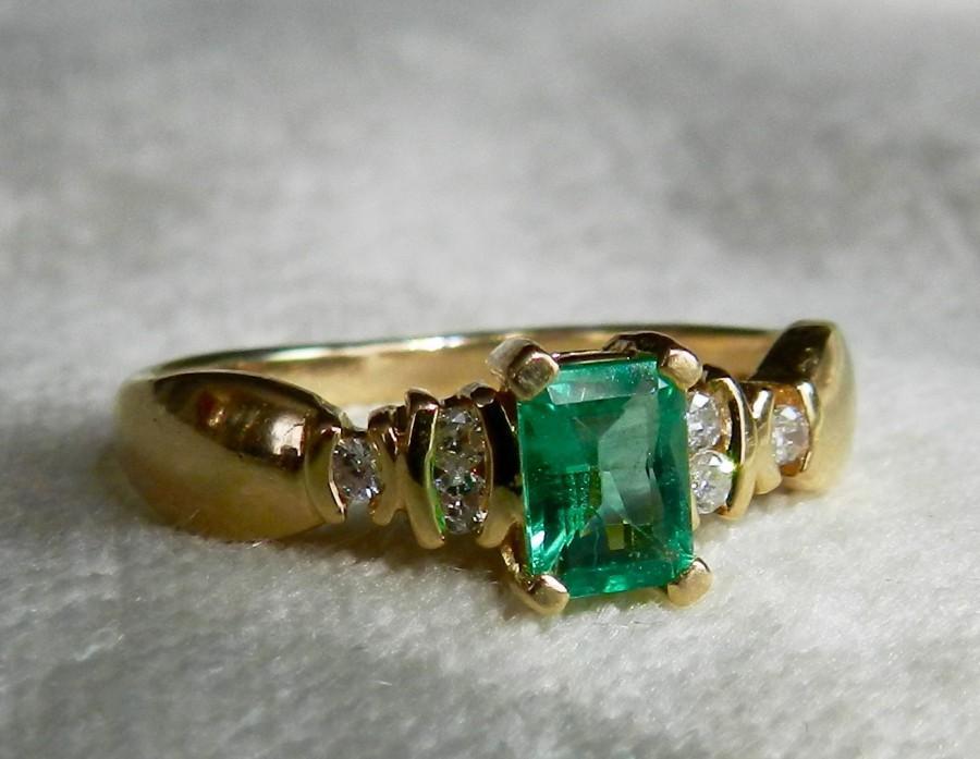 Mariage - Emerald Engagement Ring 14K Gold Ring Colombian Emerald Ring Unique Engagement Ring Emerald Diamond Ring May Birthstone May Birthday