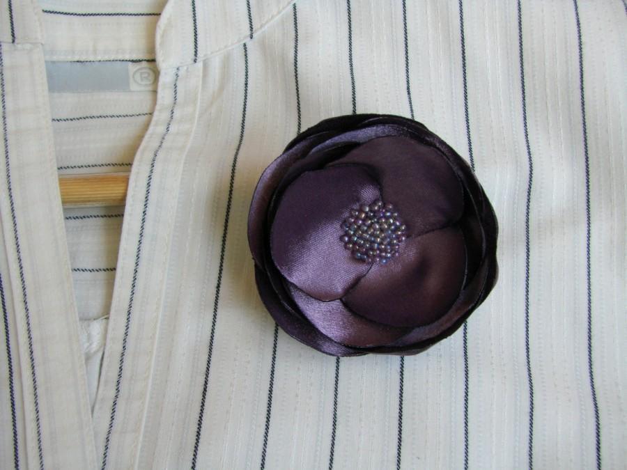 Mariage - Dusty purple flower, Dusty purple brooch flower, Ash Purple corsage flower,  Bridal ash purple flower, Bridesmaids ash purple flower