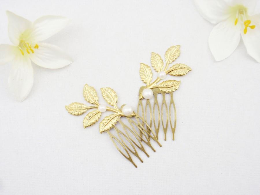 Wedding - Gold leaf hair combs elegant dainty bridal wedding woodland