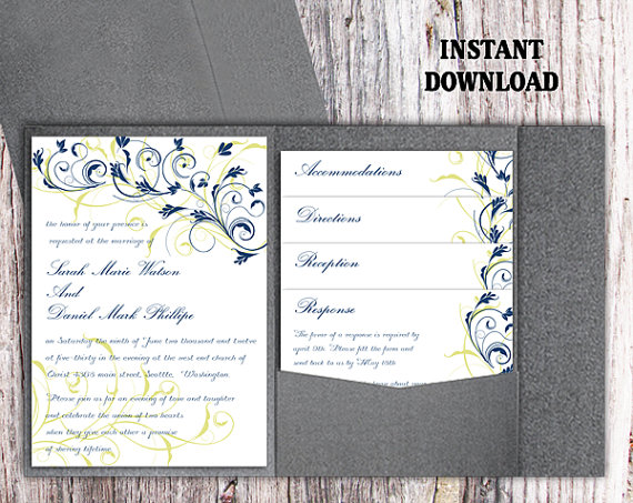 Pocket Wedding Invitation Template Set Diy Editable Word File