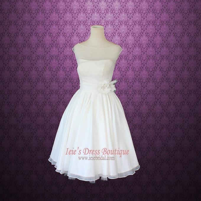Wedding - Ready to Wear Retro Vintage 50s Short Tea Length Wedding Dress with Floral Sash
