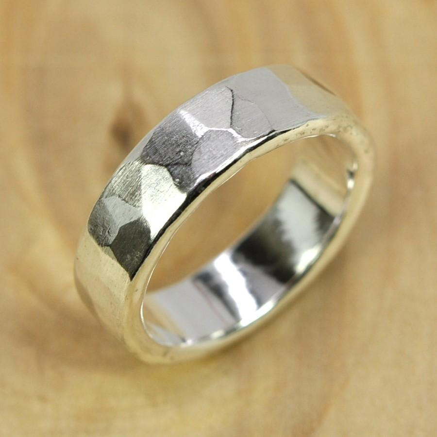 Mariage - Recycled Silver Ring, Wide Chunky Mens Afffordable Wedding Band option, Faceted Matte, 5.5mm Pure Silver Eco Friendly, Sea Babe Jewelry