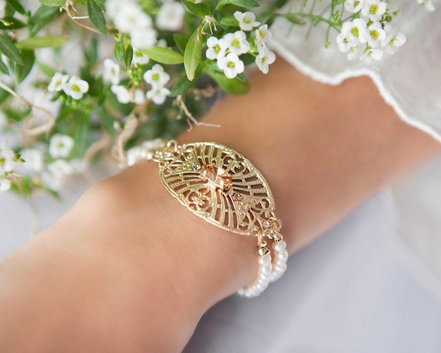 Свадьба - Gold bridal bracelet, Pearl bridal jewelry, Bridal bracelet, Gold and pearl bridal jewelry, Crystal and pearl bridal jewelry