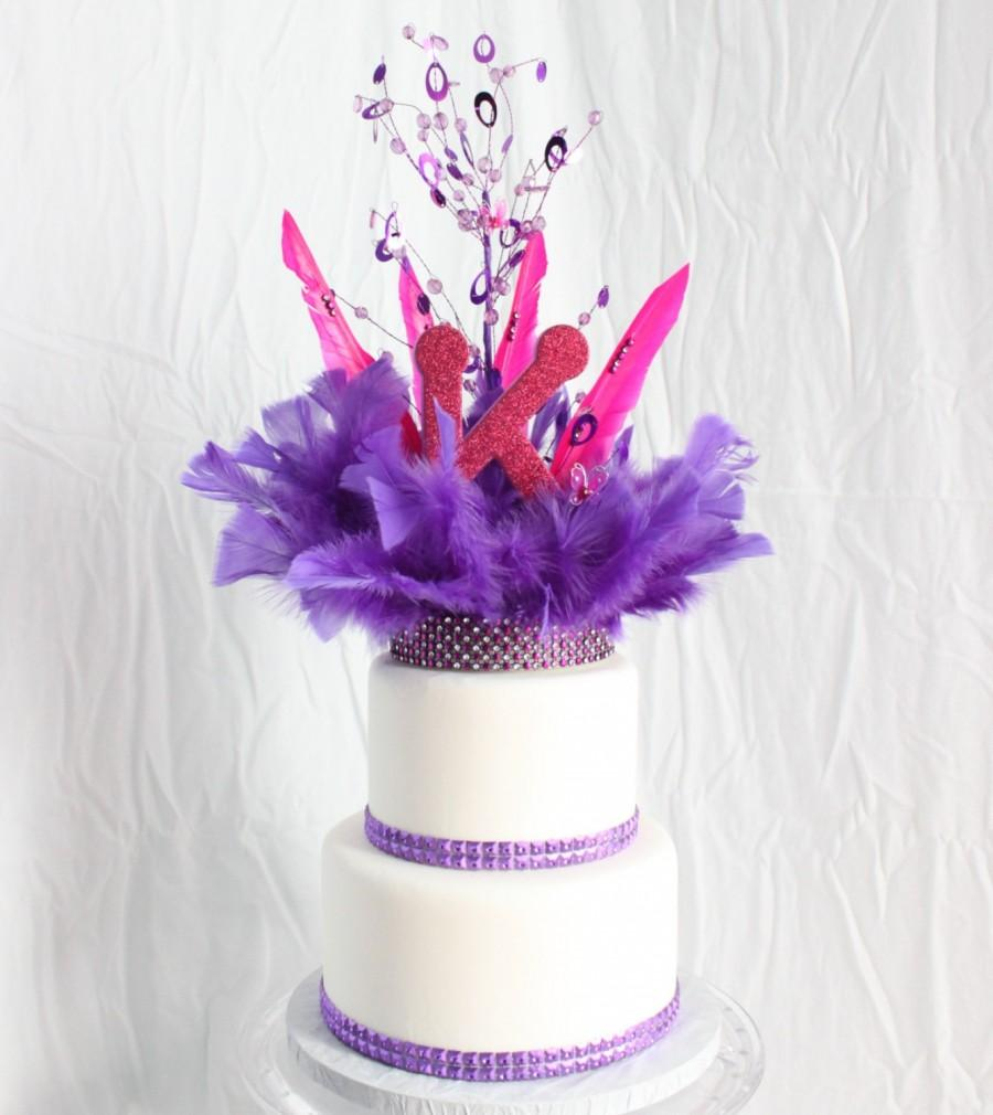 Hochzeit - Hot Pink and Purple cake topper