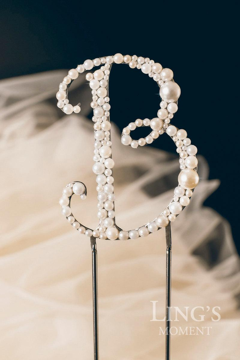 Mariage - Vintage Pearl Personalized Monogram Cake Topper Wedding Cake Decoration