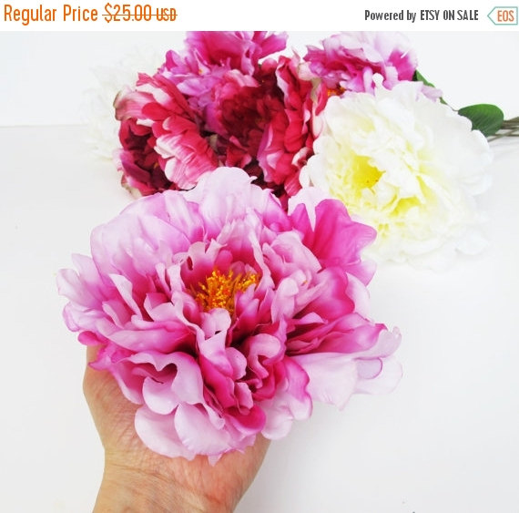 Mariage - ON SALE 9 pc Big Silk Peonies Bouquet Soft and Dark Pink White with Green Leaves Artificial Flowers Flower Wedding Hair Accessories Flower S