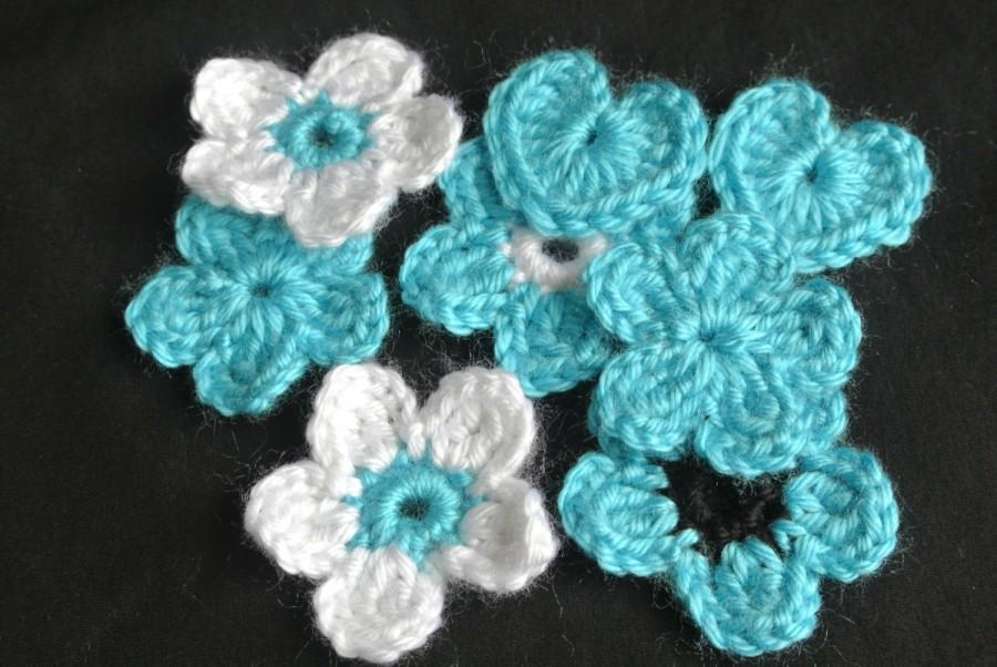Mariage - Turquoise flowers, appliques, Scrapbooking, embellishment, baptism, celebrations, pillows, white flowers, blue flowers, purple flowers, red