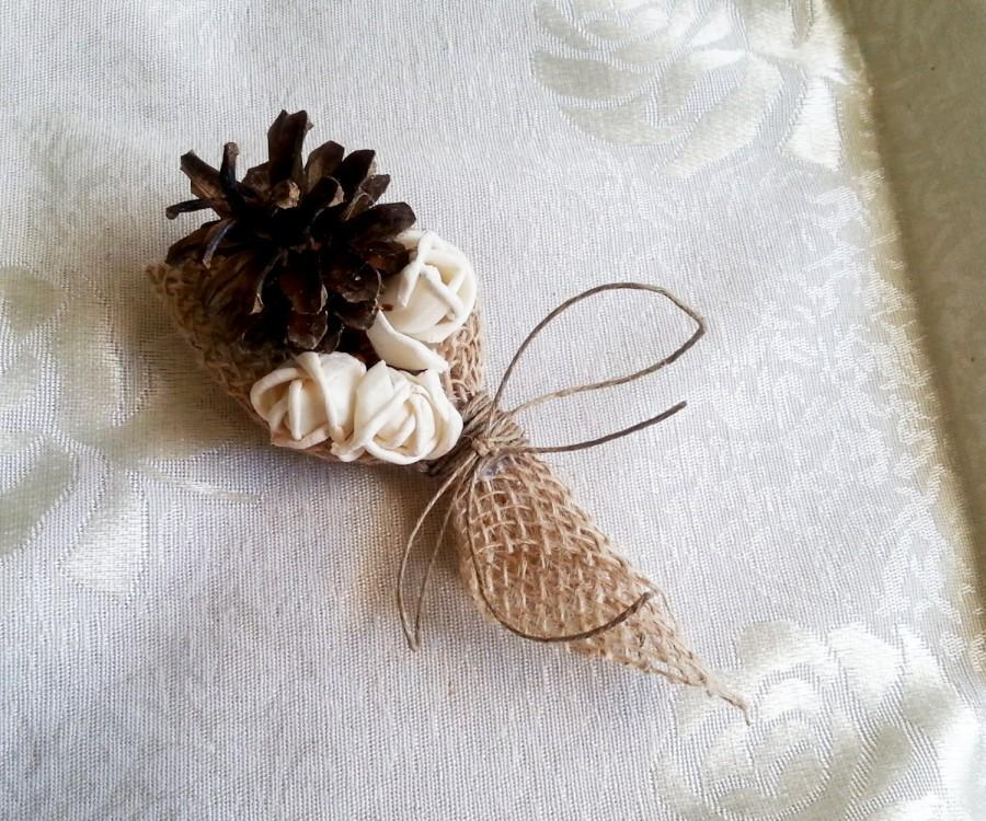 Mariage - Cream rustic wedding Rustic CORSAGE mother of bride of groom boutonniere, Sola Flower, Wedding Flowers custom