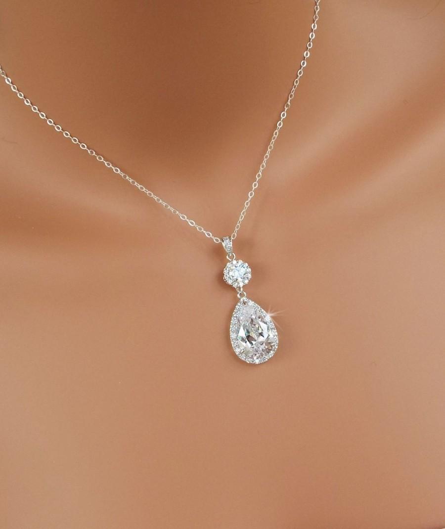 Свадьба - Crystal Bridal necklace, Crystal Wedding pendant, Wedding jewellery, Bridesmaid jewelry, Bridal jewelry, Swarovski, Cameron Necklace