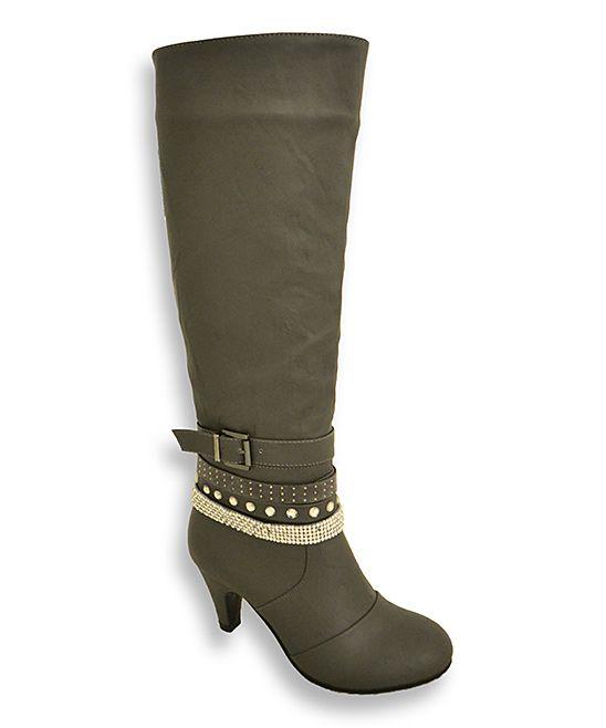 Hochzeit - Gray Wrap-Buckle Alla Wide-Calf Boot