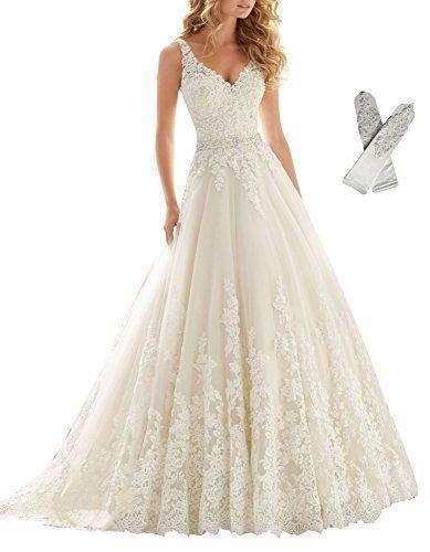 Mariage - Lace Applique Empire Chapel Train Wedding Dress