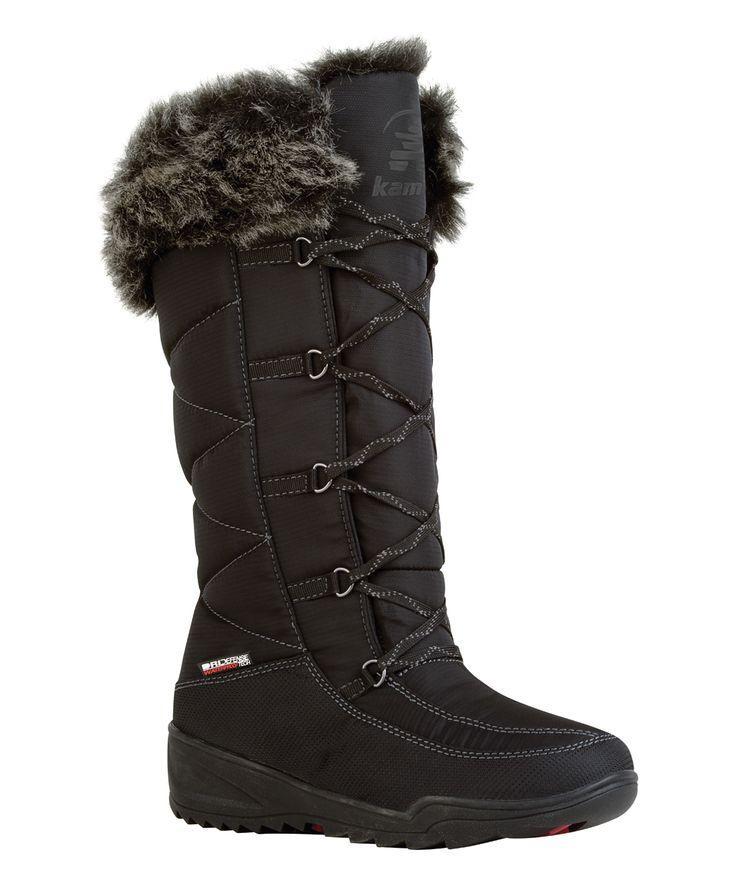 Hochzeit - Black & Gray Faux Fur Accent Duck Boot